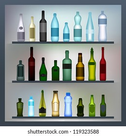 Set of colored glass and plastic bottles