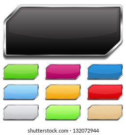 Set of colored glossy buttons with metallic frame and shadow, vector eps10 illustration