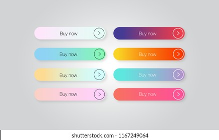 """Set of colored gradient web Buttons """"Buy now"""". Web elements. Vector Buttons."""