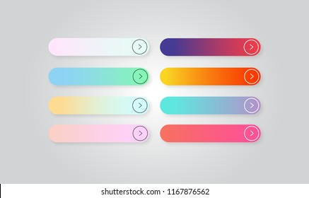 Set of colored gradient web Buttons. Web elements. Vector Buttons.