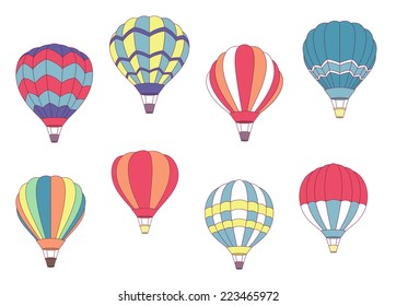 Set of colored hot air balloons with different patterns on the envelope, vector illustration on white