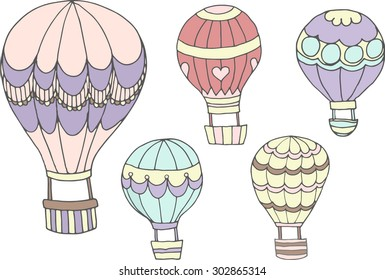 Set of colored hot air balloons with different patterns on the envelope, vector illustration on white.