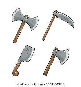 Set of colored icons. Axe with scythe and cleaver knife isolated on white background, illustration.