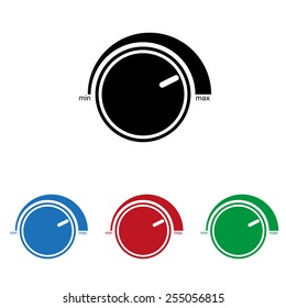 Set of colored icons. Black, blue, red, green.  Volume control icon, icon, vector illustration. Flat design style