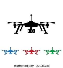 Set of colored icons. Black, blue, green, red. Quadrocopter. icon. vector design