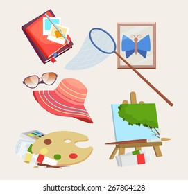 Set of colored icons for summer activities with a butterfly net, journal, straw sunhat, sunglasses, artists palette and easel with painting, vector design elements