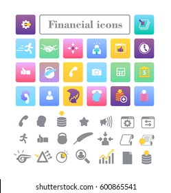 Set of colored icons for website and mobile application. Flat design. Business and Finance.