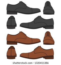 Set of colored illustrations with classic mens shoes. Isolated vector objects on white background.