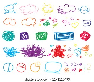 Set of colored infographic elements on isolated background. Big collection of different signs on white. Hand drawn elements. Shapes for inscriptions. Line art. Abstract circles, squares and frames