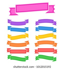 Set of colored isolated banner ribbons on white background. Simple flat vector illustration. With space for text. Suitable for infographics, design, advertising, holidays, labels.