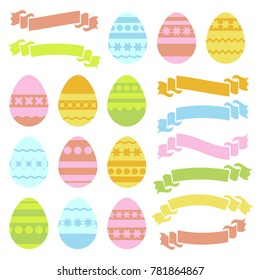 Set of colored isolated Easter eggs and ribbon banners on white background. With an abstract geometric pattern. Simple flat vector illustration. Suitable for decoration of postcards, advertising, maga