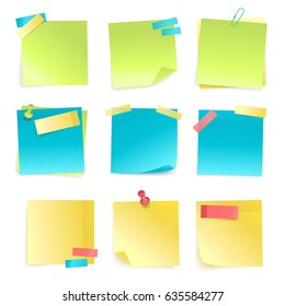 Set of colored isolated sticky notes with paper clip and adhesive tape isolated on white background realistic vector illustration