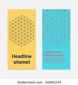 Set of colored isometric cube with grid banners or booklet for modern business design