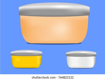 Set of colored jars for cosmetics