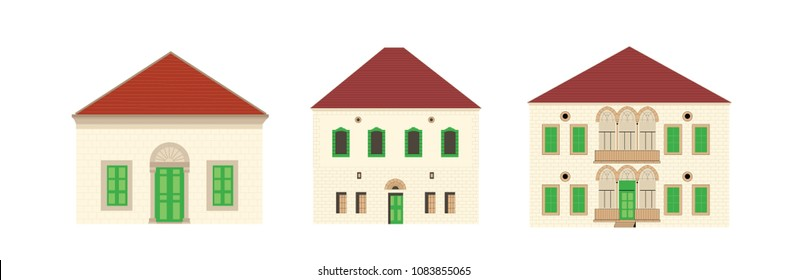 Set of Colored Lebanese Traditional Houses with Red Roofs - Vector Illustration Isolated Vector