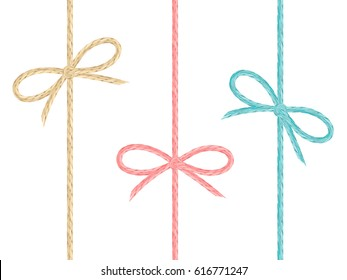 Set of colored linen string bows. Cute ribbons from realistic flax cord colored in pink, blue and yellow.