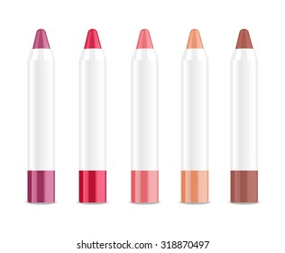 Set of colored lip sticks isolated on white. Vector illustration