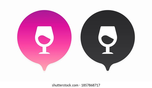 A set of colored location peaks with a white glass icon on them. Pin symbolizing the location of wine shops, cafes and restaurants. Vector illustration