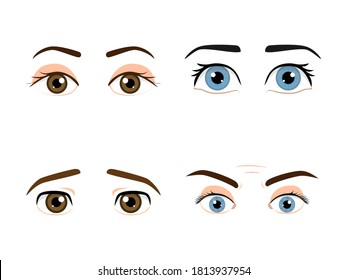 Set of colored male eyes and eyebrows with different expressions isolated in a withe background
