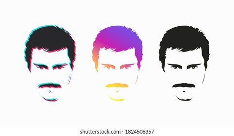 Set of colored men's faces with moustaches. Beautiful male face painted in different colors. Vector illustration