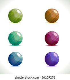 Set of colored metal textured orbs. Vector.