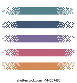 Set of colored modern pixel banners for headers. Vector banners ready for your text or design