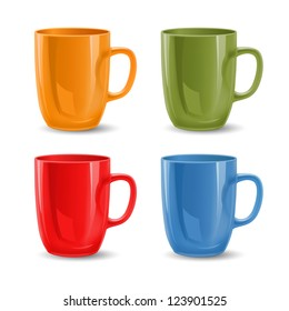 Set of colored mugs, vector illustration