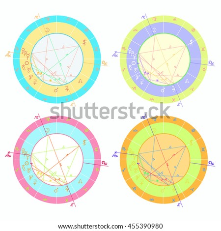 Set Colored Natal Astrological Charts Vector Stock Vector Royalty