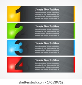Set of colored number banners on white, vector illustration. Vector Illustration.