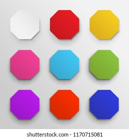 Set of colored octagon icon pack. Geometry octagonal colorful eight sided polygon octagon line. Vector illustration. Isolated on white background.