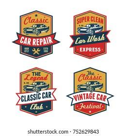 Set of Colored Old Retro Style Vintage Classic Car Vector Logo, Badge, Emblem, Icon, Sticker. Car Wash, Workshop Repair, Service, Community, Club, Car Show, Exhibition, Festival Element
