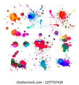 A set of colored paint stains. Vector