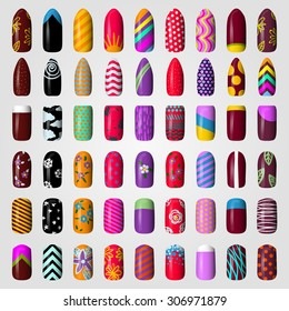 set of colored painted nails. manicure. nail polish. isolated on a white background