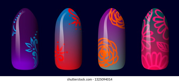 set of colored painted neon nail stickers. manicure art. nail polish. isolated on a dark background