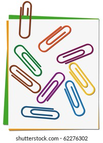 Set of colored paper clips. Vector illustration