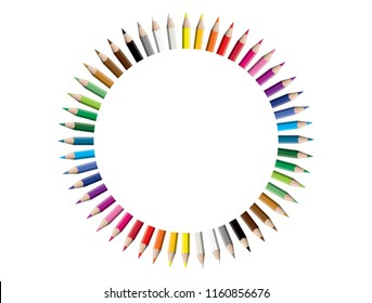 Set of colored pencil collection circle arranged - isolated vector illustration colorful pencils on white background.