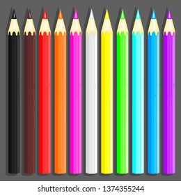 A set of colored pencils for drawing. Color palette for creativity. Logo and print for stationery, school supplies, art materials and etc. Color fill isn't the gradient. Vector illustration. EPS 8.