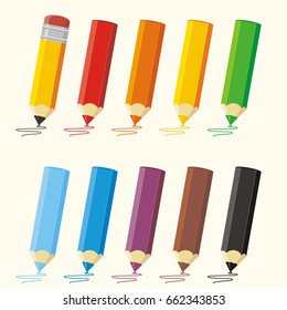 Set colored pencils with stroke: red, orange, yellow, green, blue, purple, brown, black.
