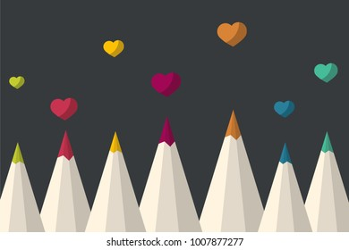 Set of colored pencils with valentine hearts. Vector Illustration.