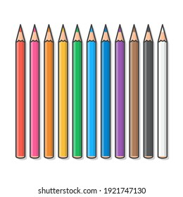 Set Of Colored Pencils Vector Icon Illustration. Crayons Colored Pencil Flat Icon