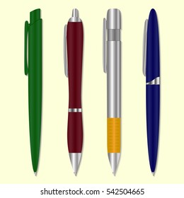 Set of colored pens. Vector illustration.