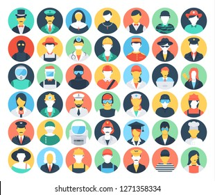 Set of Colored People and Professions Icons