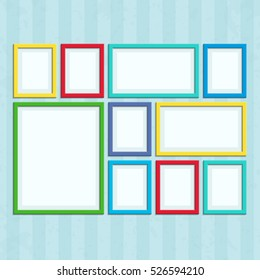 Set of colored photo frames. Colored photo frame on vintage wall in a flat style isolated on a background.