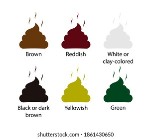 Set colored poops icon. Stinky poo. Vector