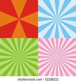 Set of colored radiant backgrounds