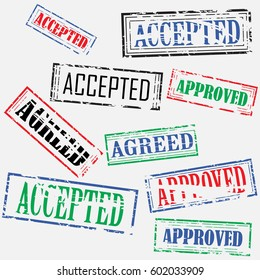 "Set of colored rectangular stamps with text ""Approved"" and ""Accepted"""
