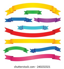 Set of colored ribbon banners. Blue, green, red, yellow, pink scrolls. Vector illustration.