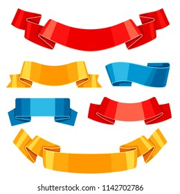 Set of colored ribbons and banners. Collection for decoration.