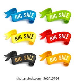 Set of colored ribbons. Big sale. Realistic detailed curved paper banners. Ribbons with space for text. Isolated on white background. Vector illustration. Design elements.