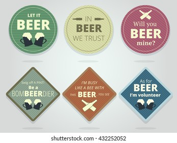 Set Of Colored Round and Square Ready Beer Coasters and Mats With Slogans And Phrases, Motivation Bierdeckels Design